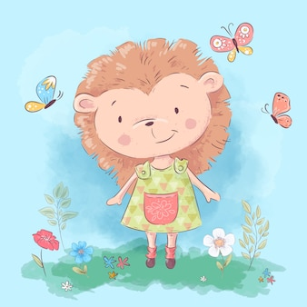 Illustration of cute hedgehog flowers and butterflies. cartoon style.