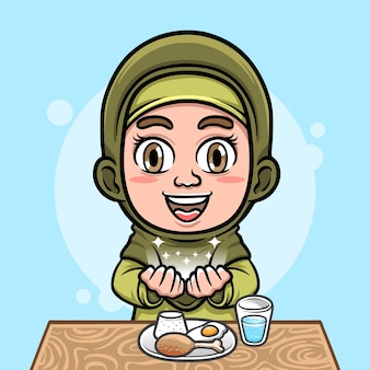 Illustration of cute hijab moslem girl praying before eating with foods
