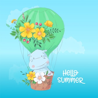 Illustration of a cute hippopotamus in a balloon.