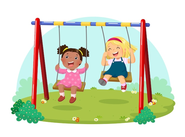 Illustration of cute kids having fun on swing in playground
