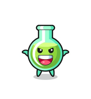 The illustration of cute lab beakers doing scare gesture , cute style design for t shirt, sticker, logo element