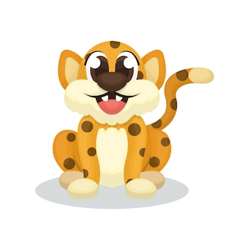 Illustration of cute leopard character with cartoon style