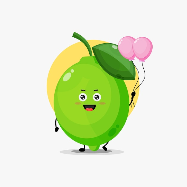 Illustration of cute lime character carrying balloon