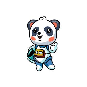 Illustration of  cute little astronaut panda cartoon giving thumbs up