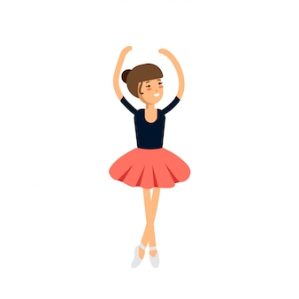 Illustration cute little ballerina. female ballet dancer
