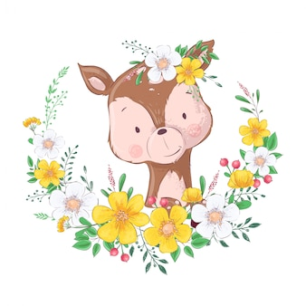 Illustration of cute little deer in a wreath of flowers. hand drawing