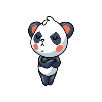 Illustration of  cute little panda angry cartoon