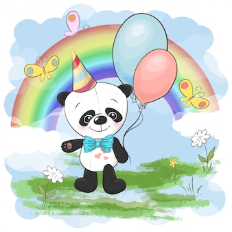 Illustration cute little panda with balloons of rainbow and clouds. print on clothes and children room