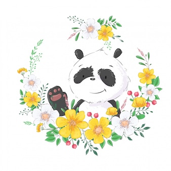 Illustration of cute little panda in a wreath of flowers. hand drawing.