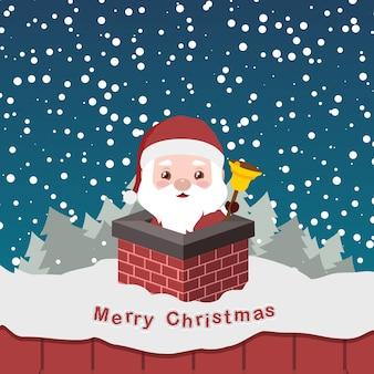 Illustration of cute little santa in a chimney
