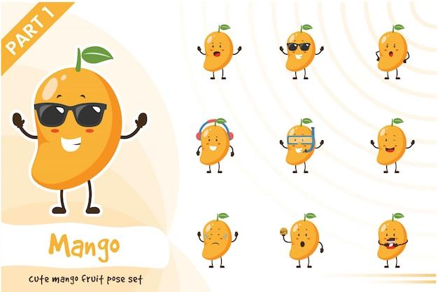 Illustration of cute mango fruit set