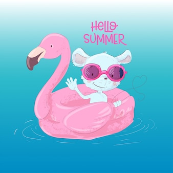 Illustration of a cute maus on an inflatable circle in the form of a flamingos. hello summer