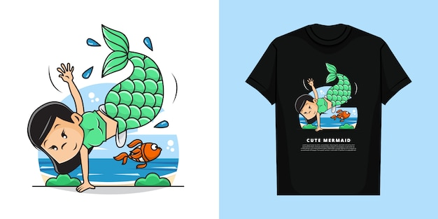 Illustration of cute mermaid girl with t-shirt mockup design
