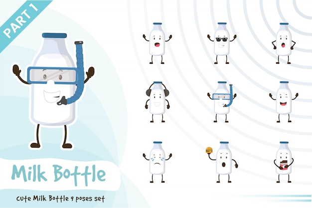 Illustration of cute milk bottle set