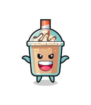 The illustration of cute milkshake doing scare gesture , cute style design for t shirt, sticker, logo element