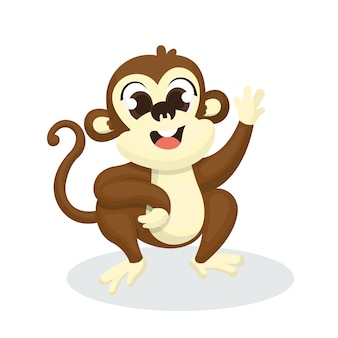 Illustration of cute monkey character with cartoon style