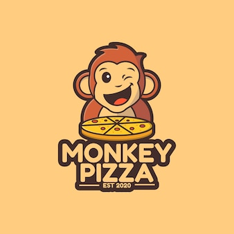 Illustration cute monkey pizza logo template
