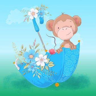 Illustration of cute monkey umbrella and flowers. cartoon style. vector