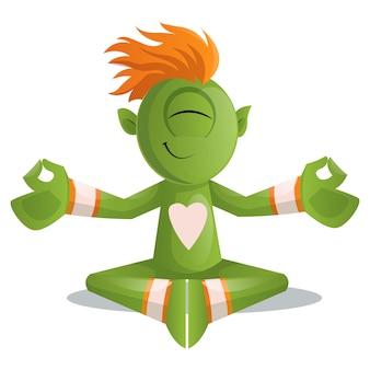 Illustration of cute monster doing yoga/meditation