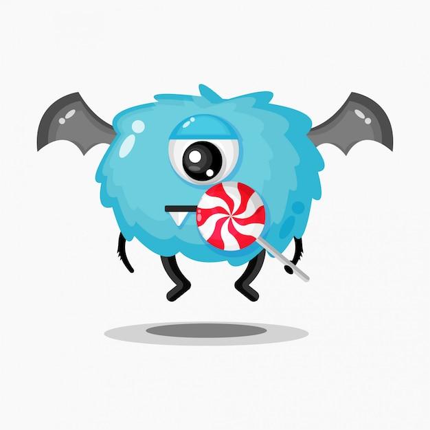 Illustration of cute monster eating lollipops