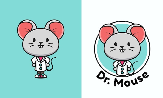 Illustration of a cute mouse doctor. cute doctor mouse logo template