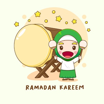 Illustration of cute muslim girl character with bedug or islamic drum