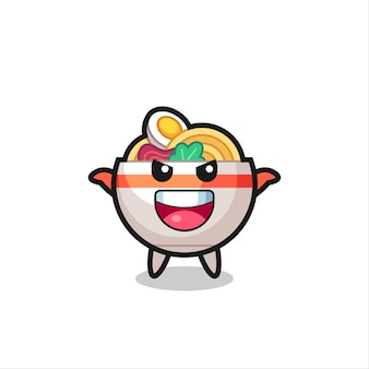 The illustration of cute noodle bowl doing scare gesture , cute style design for t shirt, sticker, logo element