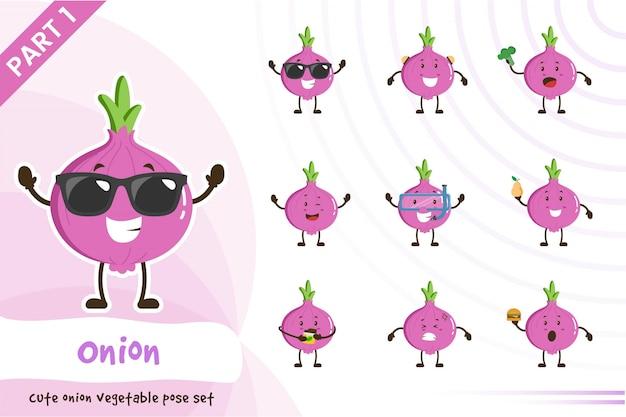 Illustration of cute onion vegetable set