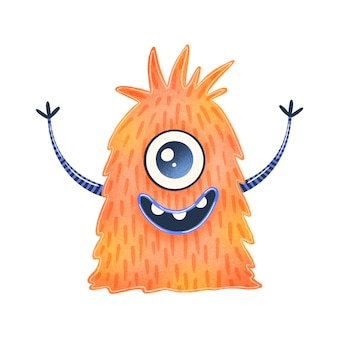 Illustration of a cute orange cartoon alien. cute monster isolated on white  .