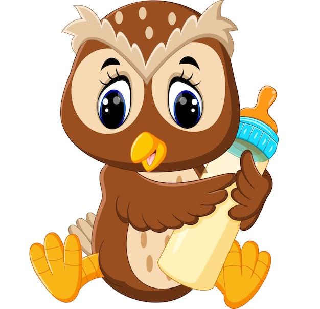 Illustration of cute owl holding milk bottle