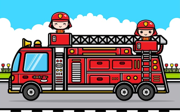Illustration of a cute pair of firefighter