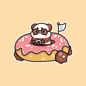 Illustration of cute panda riding donuts suitable for t-shirt, sticker, and related business