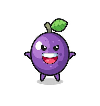 The illustration of cute passion fruit doing scare gesture , cute style design for t shirt, sticker, logo element