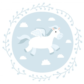 Illustration of cute pegasus on blue backgound.