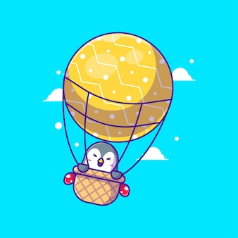 Illustration of a cute penguin fly with christmas balloon. merry christmas