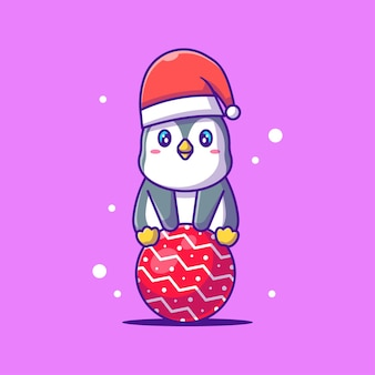 Illustration of a cute penguin sitting .merry christmas