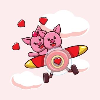Иллюстрация милая свинка влюбляется в полет с самолетом
