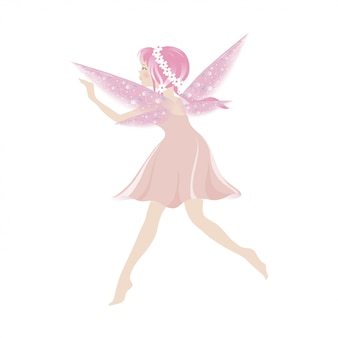 Illustration of a cute pink fairy flying with beautiful wings