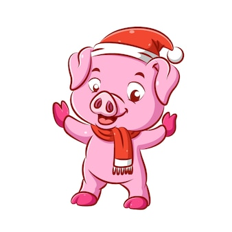The illustration of the cute pink pig is dancing her body using the christmas hat and the scarf