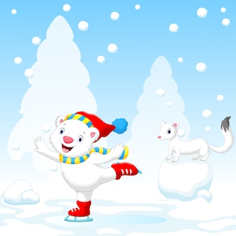 Illustration of cute polar bear on ice skates