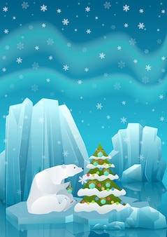 Illustration of cute polar bear sitting in ice and decorating christmas tree with ball