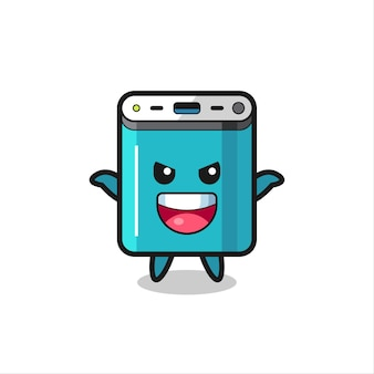 The illustration of cute power bank doing scare gesture , cute style design for t shirt, sticker, logo element