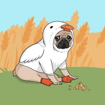 Иллюстрация симпатичный мопс в костюме гуся в поле