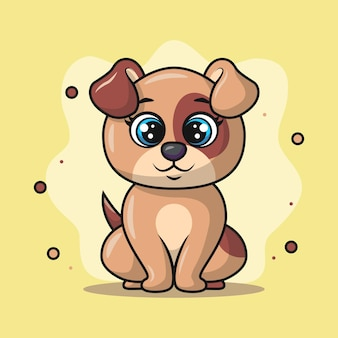 Illustration of cute puppy animal sitting and smiling happily
