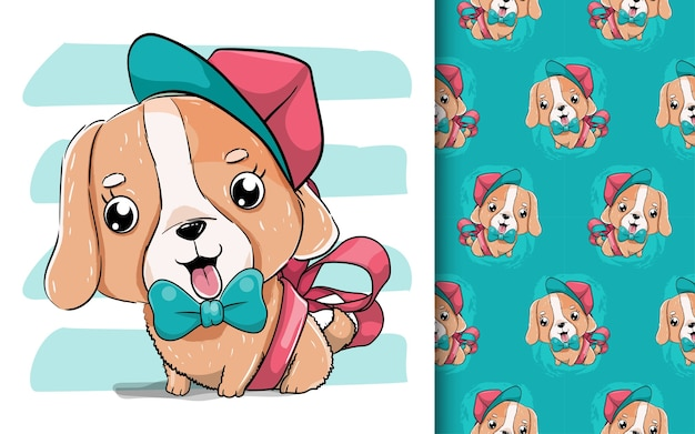 Illustration of a cute puppy with hat and red ribbon.