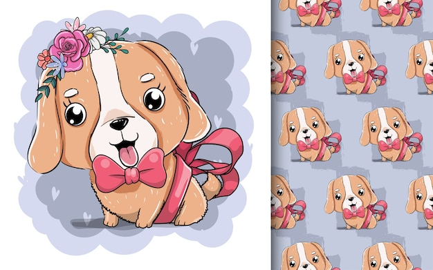 Illustration of a cute puppy with red ribbon.