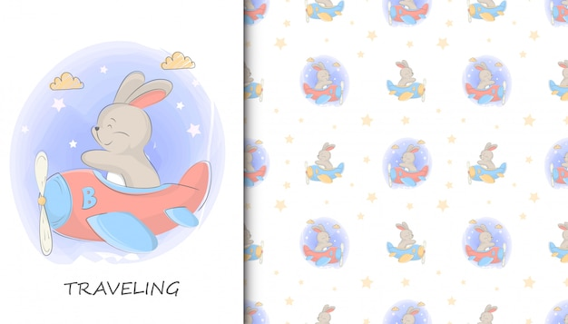Illustration of cute rabbit riding a plane and kids baby pattern