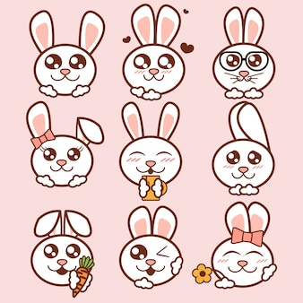 Illustration cute rabbits icons set. sweet rabbits stickers in flat style.