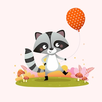 Illustration of a cute raccoon holding a balloon with mushrooms in the grass.