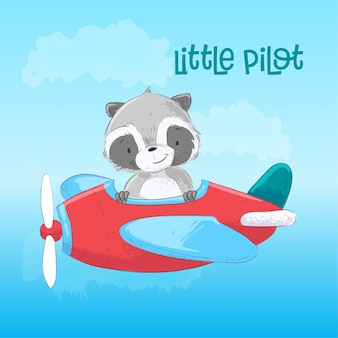 Illustration of cute raccoon on the plane in cartoon style. hand drawing.
